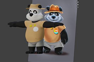 Pô, le panda.                                                                                 Client: Camping «Etoile d'Or»